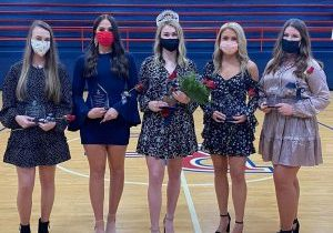 The Homecoming Court of Katie Owens, Baylee Hart, Juliah Bault, Ella Robertson, and Olivia Hinkle. Photo courtesy Russell County High School
